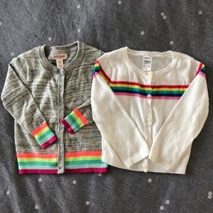Other - {BABY} [bundle of 2] Fun rainbow striped cardigans
